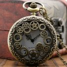 Copper Steampunk Vintage Hollow Bronze Gear Hollow Quartz Pocket Watch