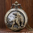 Bronze Tiger Hollow Quartz Pocket Watch Clock Necklace Pendant Men GIfts Reloj De Bolsillo