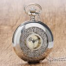 Retro Hollow Silver Tone Quartz Pocket Watch Women Men Watches Necklace Pendant With Chian