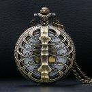 Skeleton Spine Ribs Hollow Quartz Pocket Watch Cool Vintage Necklace Pendant Clock Chain