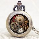 Antique Design Gear Pocket Watch Steampunk Quartz Watches Men Gift