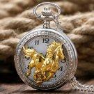 Running Golden Horse Silver Case Cool Retro Men Pendant Gift Women Necklace Pocket Watch