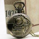 Train Front Locomotive Engine Quartz Railway Pocket Watch Steampunk Nacklace