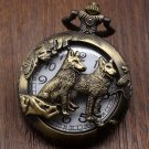 Bronze Wolf Dog Hollow Quartz Pocket Watch Necklace Pendant Women Men's Gifts