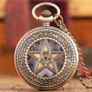 Vintage Necklace Pentagram Pentacle Pagan Wiccan Witch Gothic Pewter Quartz Pocket Watch