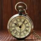 Archaize Antique Style Bronze Roman Numerals Dial Vintage Pocket Watch Clock Necklace