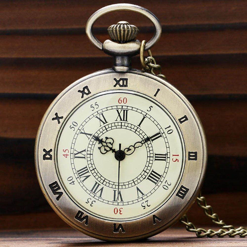Simple Roman Number Dial Copper Quarzt Pocket Watch Unisex Vintage Necklace Pendant