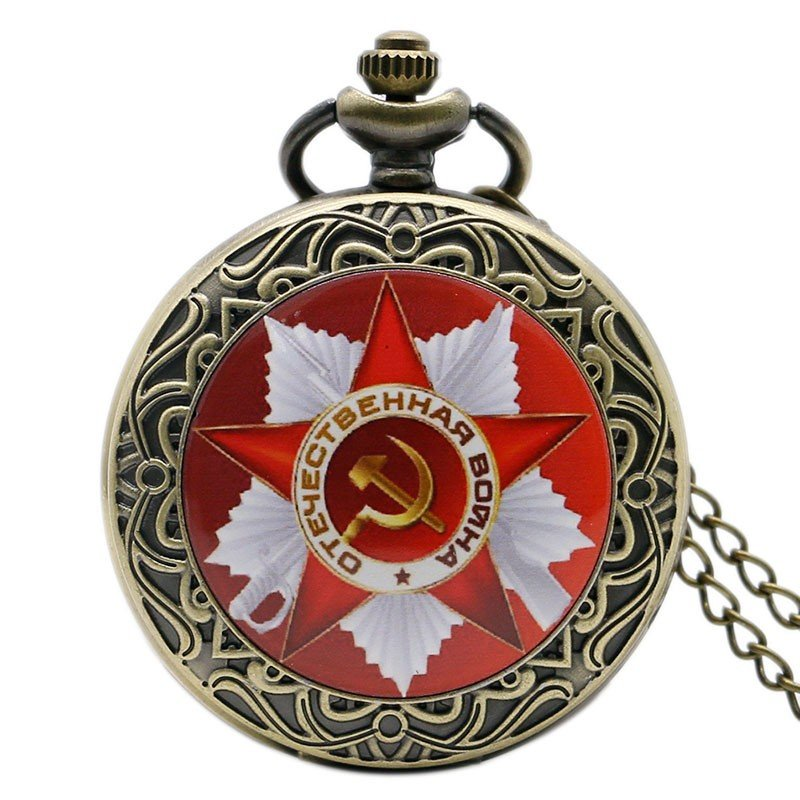 Russia Soviet Sickle Hammer Antique Quartz Necklace Hammer With Sickle Pocket Watch