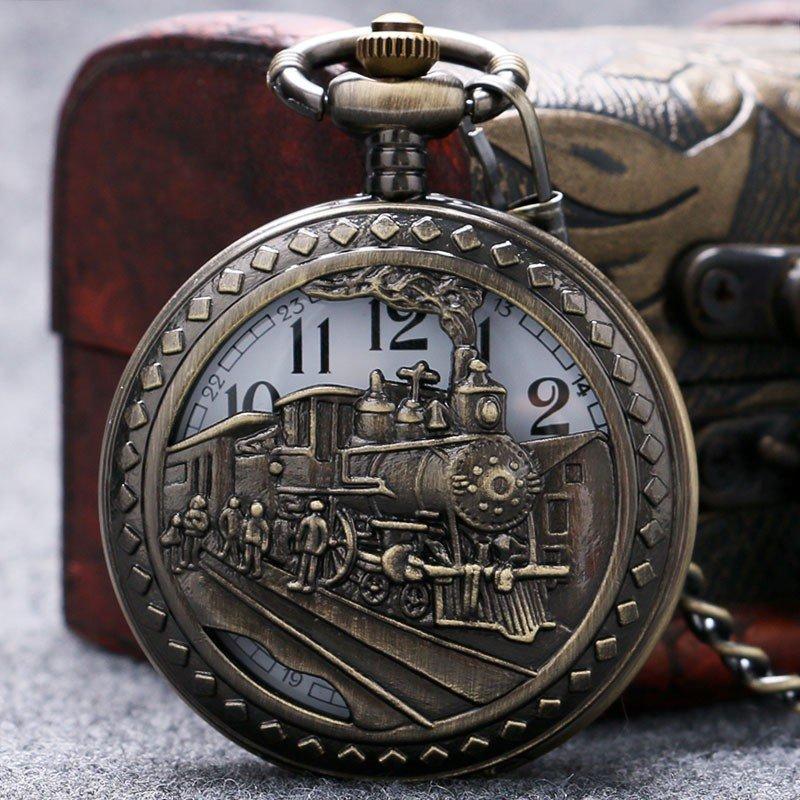 Steam Train Pocket Watch Silver Railway Design Retro Quartz Watches Men Kid Gift