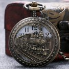 Steam Train Pocket Watch Silver Railway Design Retro Quartz Watches Men Kid Gift