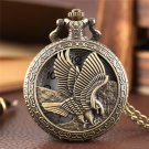 Hollow Flying Hunting Eagle Design Pocket Watch Necklace Quartz Watch For Women Men