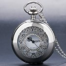 Antique Hollow Silver Tone Quartz Pocket Watch Necklace Pendant Women Men Gift
