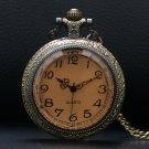 Bronze Vintage Hollow Quartz Pocket Watch Flower Enamel Women Necklace Pendant With Chain