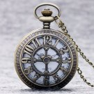 Bronze Vintage Quartz Pocket Watch Hollow Cartoon Mouse Women Men Necklace Pendant Chain