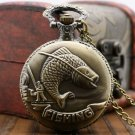 Vintage Bronze Fishing Angling Quartz Chain Pocket Watch Necklace Pendant Mens Gift