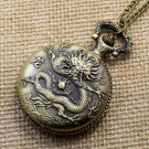 Bronze Vintage Chinese Zodiac Dragon healthy Pocket Watch Necklace Pendant Gift