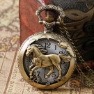 Bronze Horse Hollow Quartz Pocket Watch Necklace Pendant Womens Men GIfts
