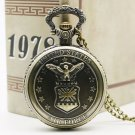 United States Style Necklace Bronze Mordern Air Force Eagle Stars Quartz Pocket Watch