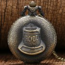 AC DC Rock Music Big Hells Bell Quartz Pocket Watch Bronze Necklace Pendant with Chain