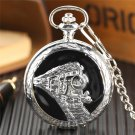 Stainless Steel Railway Train Quartz Pocket Watch Silver Pendant Necklace for Mens
