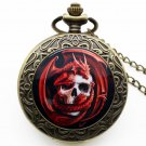 Punk Skull Pendant Watch Death Design Pocket Watch Biker Skull Charm Clock