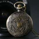 Bronze Steampunk Vintage Retro Bronze Evil Dragon Fire Quartz Pocket Watch