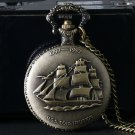 Sailboat Ship Bronze Quartz Watches for Man's Clock Necklace Chain Pocket Watch