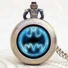 Superhero Batman Movie Theme Extension Brass Quartz Pocket Watch