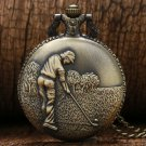 Bronze Golf Man Casual Necklace Vintage Retro Quartz Poket Watch Pendant Necklace Clock