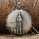 Retro Bronze Copper Big Ben London Quartz Pocket Watch Clock Hour Necklace Pendant Chain