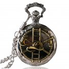 Golden Firefighting Theme Quartz Fob Pocket Watch With Chain