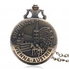 Stephansdom Vienna Austria Souvenir Pocket Watch Bronze Retro Vintage Quartz Necklace