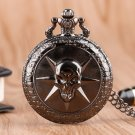Steampunk Full Steel Black Skull Cross Fire Quartz Pocket Watch Men