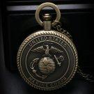 United States Marine Corps Men's Retro Bronze Fashion Quartz Pocket Watch