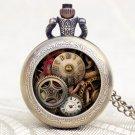 Steampunk Wheel Gear Fashion Pocket Watch Clock Hour Quartz Watches Men