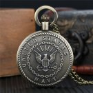 United States Navy Necklace For Marine Sailors Sea Man Bronze Quartz Pocket Watches