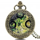Old Retro Bronze Pocket Watch Doctor Who Design Quartz Fob Watch With Chain Necklace
