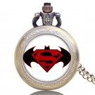 Cool Bronze Batman and Superman Pocket Watch With Necklace Chain Christmas Gift