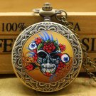 Antique Bronze Colorful Skull Head With Flower Evil Eyes Pendant Watch With Chain