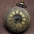 Bronze Copper Mechanical Pocket Watch Skeleton Chain Roman Numbers Vintage Pendant Watches