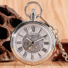 Men Automatic Self Winding Pocket Watch Silver Simple Open Face Chain Pendant