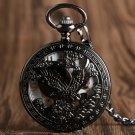 Nursing Watches Cool Flying Eagle Hawk Mechanical Pocket Watch Skeleton Black Pendant Clock