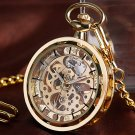Full Gold Skeleton Pocket Watch Vintage Steampunk Chain Mechanical Hand-winding Watch