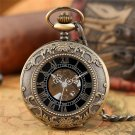 Hand Winding Mechanical Pocket Watch Luxury Fashion Roman Numerals Skeleton Watches FOB Chain