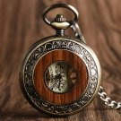 Vintage Wood Circle Design Mechanical Hand-winding Pocket Watch Retro Pendant Windup Watches