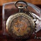 Luxury Bronze Roman Numbers Automatic Mechanical Pocket Watch Men Women