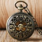Fob Automatic Mechanical Poker Hollow Pendant Skull Bronze Pocket Watches With Chain