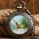 Mechanical Skeleton Clock Retro Walking Elk Deer Hand Winding Pocket Watch Fob Chain