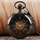 Hollow Flower Stainless Steel Mechanical Pocket Watch Hand Winding Skeleton Clock