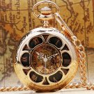 Rose Gold Dress Mechanical Pocket Watch Hand Winding Steel Pendant With Fob Chain